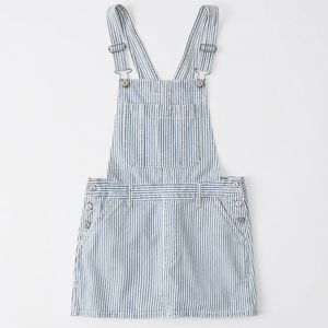 Blue and white striped overall dress